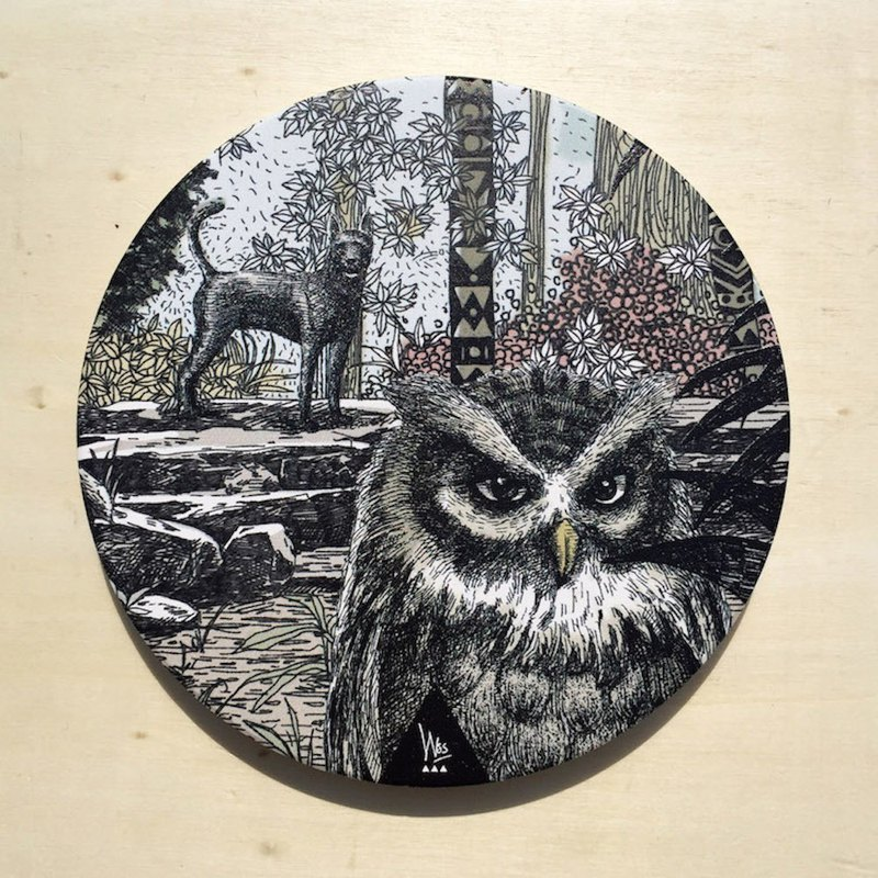 [Forest Animal Series] Guardian Forest - Owl Ceramic Water Cup Coaster