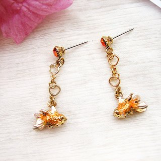 Summer の Festival - three-dimensional three-color bubble goldfish long earrings