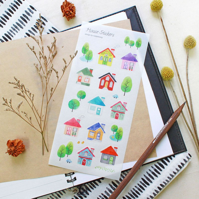 Small house cut type Japanese and paper stickers
