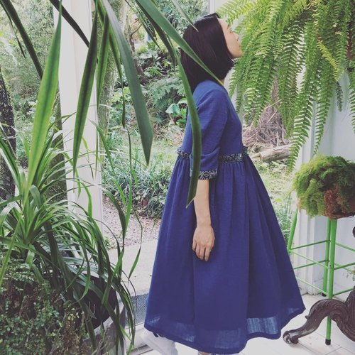 Muscari bamboo purplish blue patchwork / kidney long dress