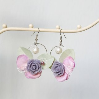 Fantasy Series - Purple Butterfly Flower Earrings Hook, Gift for Her
