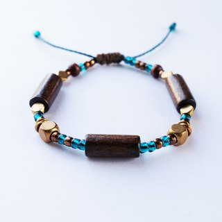 Dark wood teal string bracelet