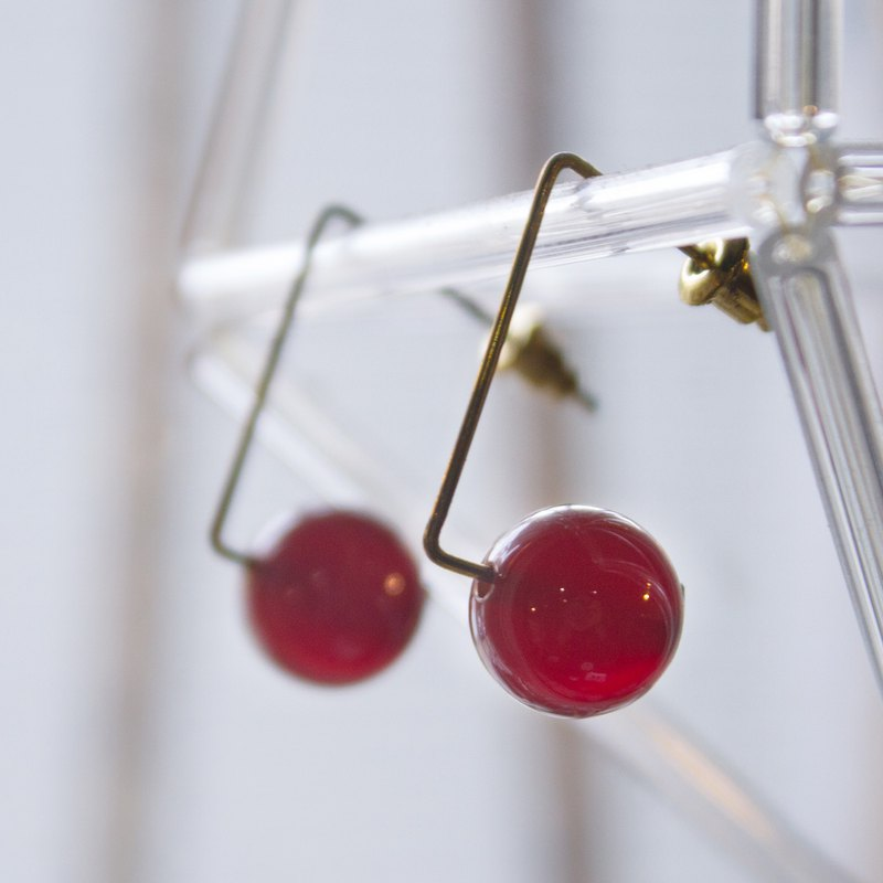Triangular Red Agate Earrings