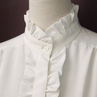 Vintage European French Collar Lace White Long Sleeve Vintage Shirt Vintage Blouse