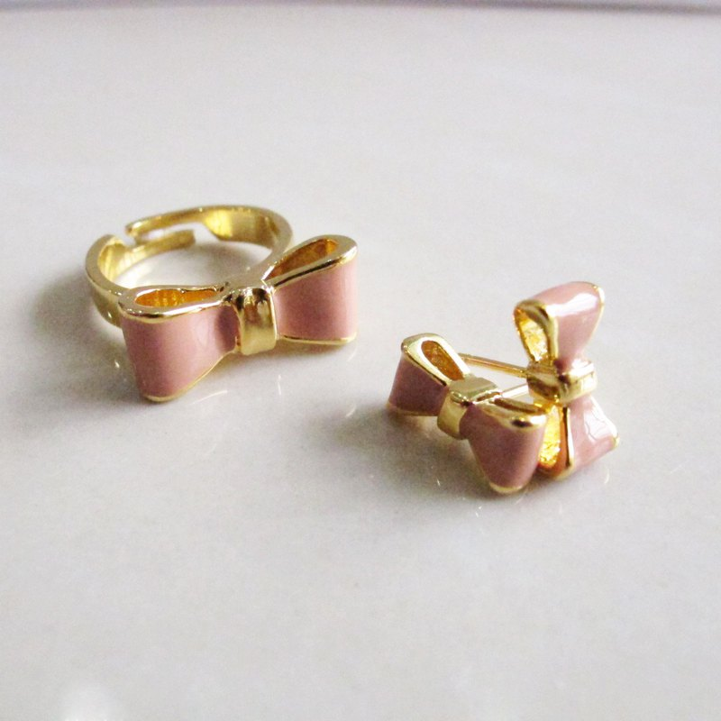 Sweet Ribbon Set (earring &ring)