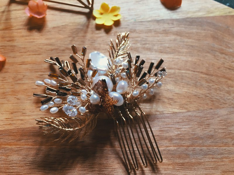 Romantic Vintage Natural Freshwater Pearl Crystal Bridal Headdress Hair Accessories Bridal Headpiece