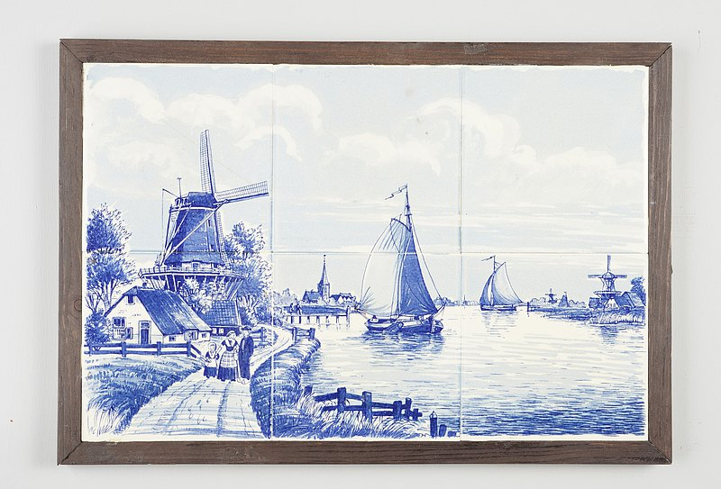 Blue six-tile tableau depicting a Dutch landscape with windmill and sailboat