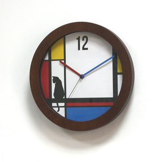 Mondrian, Window and cat  Wall Clock