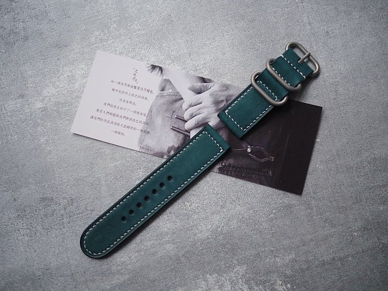 Handmade cowhide matte lake blue strap length and width can be customized color styles can be customized can be lettering