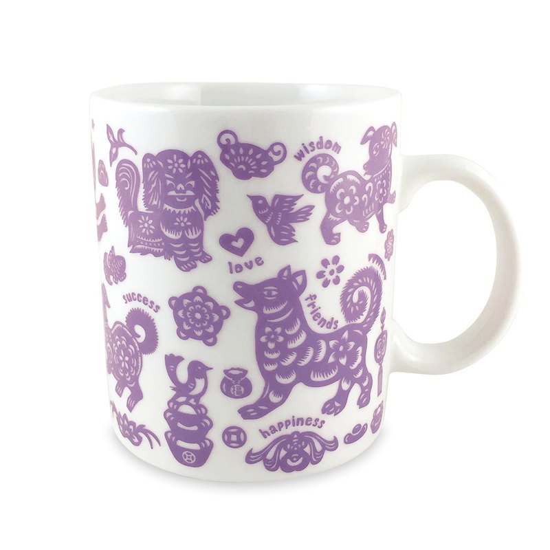 Ten dogs and ten beautiful dog mugs (pink purple)
