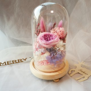 Flower daily beauty and beast bell-shaped glass cover eternal flower flower gift / Christmas gift / exchange gift