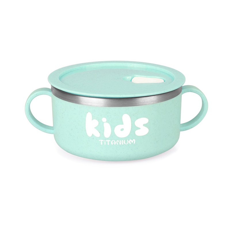 [Pure Titanium Welfare Products] Sealed Double Handle Bowl 300ml-Green-Slightly Defective
