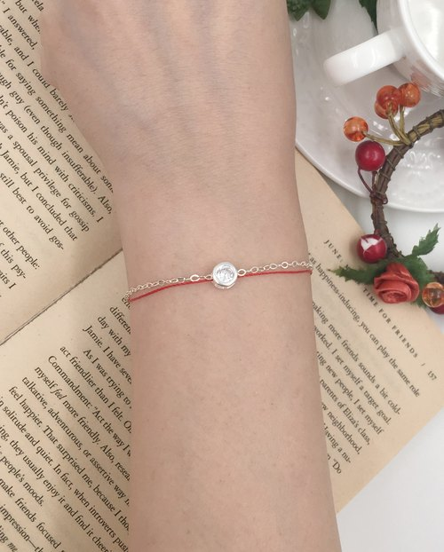 Chain rope sterling silver wallet diamond red line bracelet silver red rope hand rope very simple drill round drill
