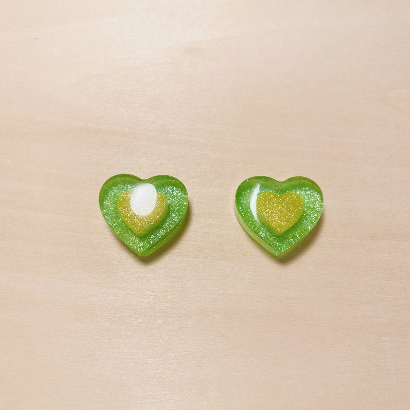 Vintage green candy love earrings