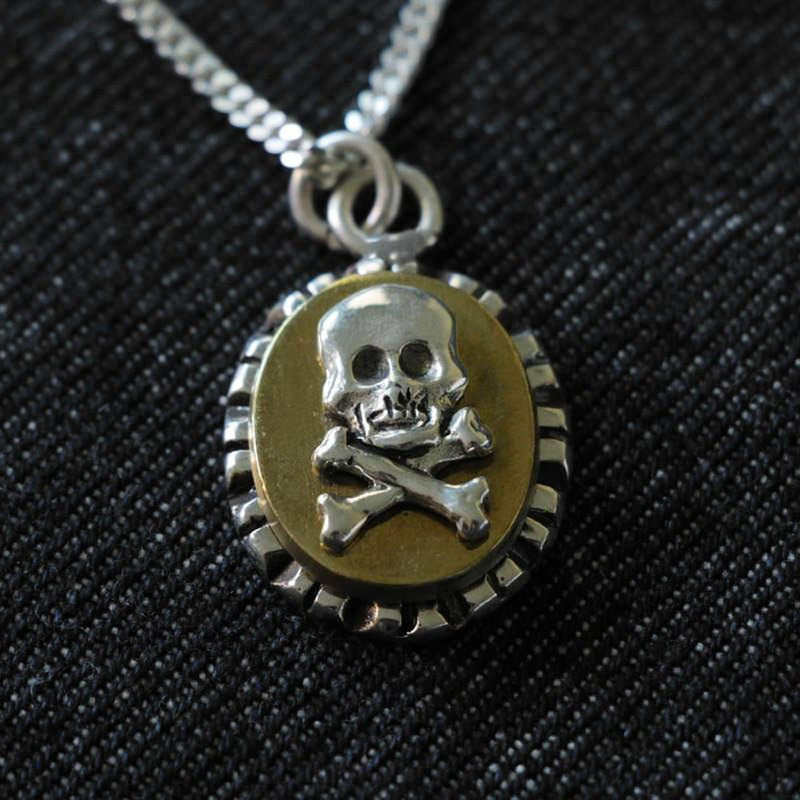 Vintage Mexican Biker Ring Skull Cross silver men Pendant Necklace Bone Gothic