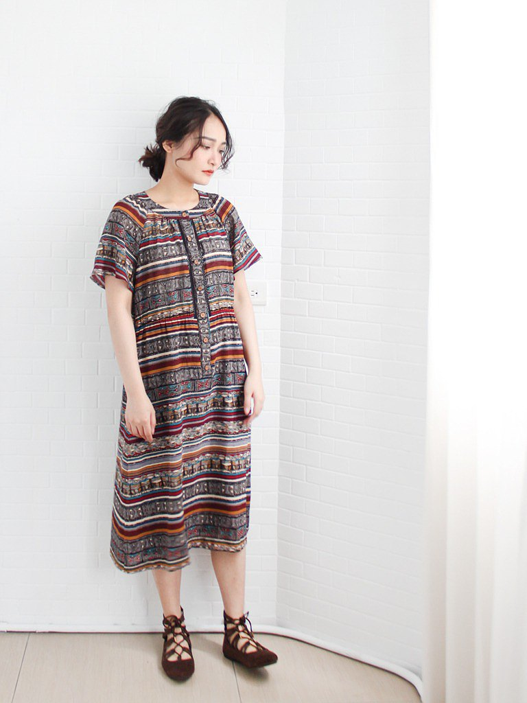 Retro early summer standard African ethnic style childlike printed totem short sleeve brown red vintage dress
