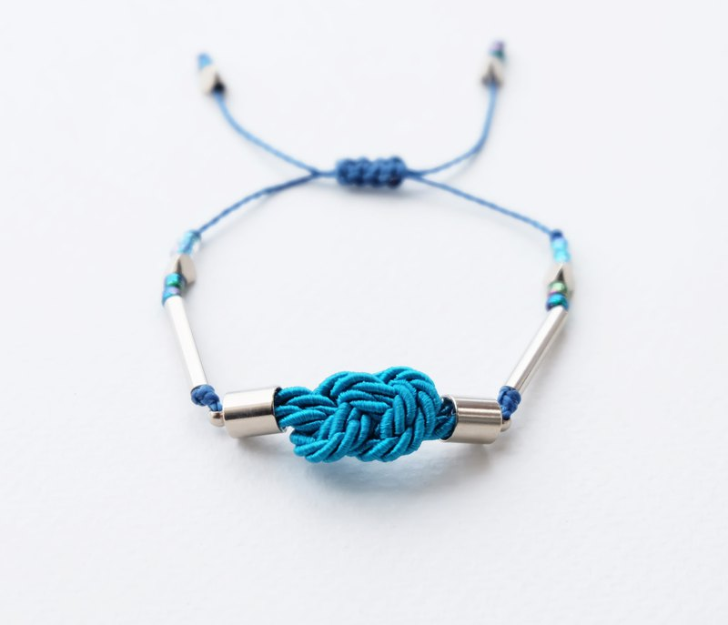 Infinity knot twisted rope in peacock blue adjustable bracelet