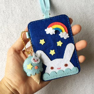 Blue rabbit card holder with ice cream keychain and neck strap.