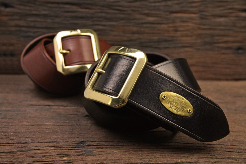 [METALIZE] brass classic tea core leather belt (black / brown)