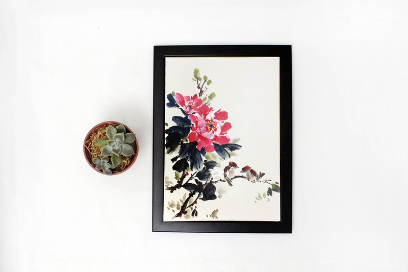 Whispering - hand-painted hanging peony and bird Chinese painting home decoration (with picture frame)