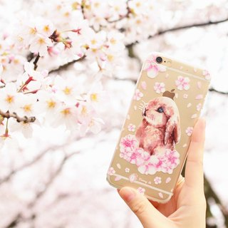 Tammy St. cherry pink cherry Special Edition Sakura Bunny Rabbit transparent IPHONE6 / 6S phone Soft Case
