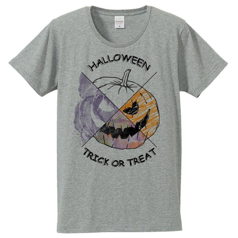 [T-shirt] Halloween pumpkin / Gray