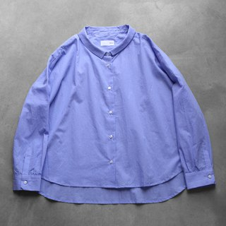Smooth cotton wide blouse · blue