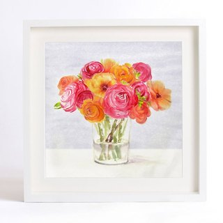 "Flower Art Print of Original Watercolor Painting, ""Silent as Enigma"" Series -Rose Bouquet and Glass"