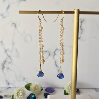 Handmade earrings with blue starry sky