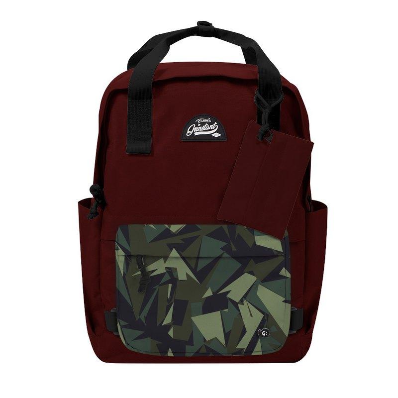 Grinstant混搭可拆組式15.6吋後背包 - 冒險系列 (深紅色配迷彩)