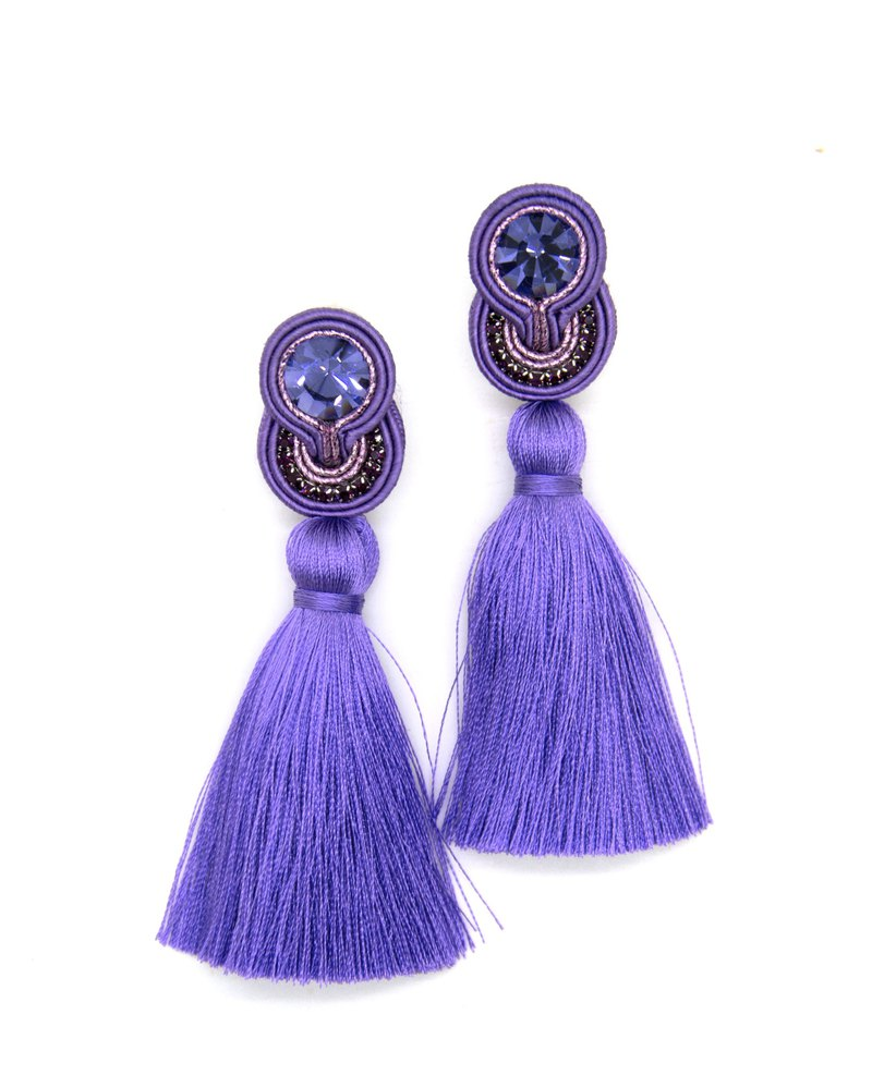 Earrings Drop Tassel earrings in purple color