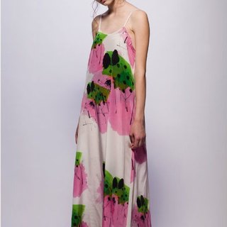 16 spring and summer sample sale 16SS pure silk printed long dress