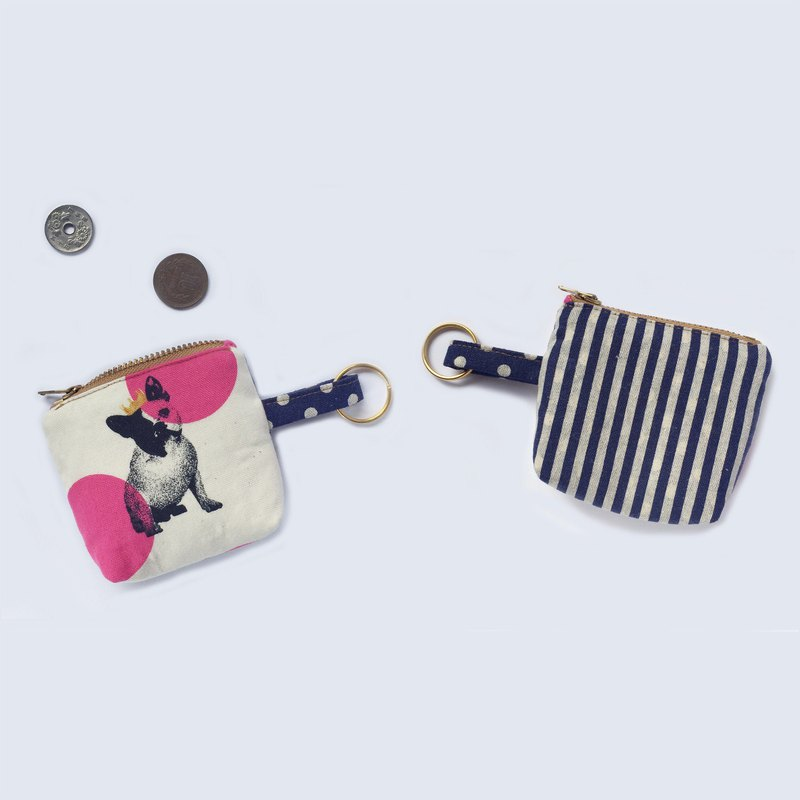 Cute Dog Mini Coin Purse, Frenchie 钥匙圈/零钱包, OOAK