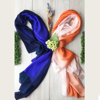 SET PRESENT ! Night azure & Pink coral scarves.