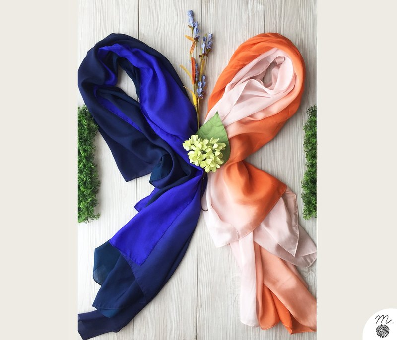 Set scarves - Night azure & Pink coral scarves