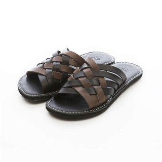 ARGIS Vibram two-color cowhide woven slippers #31124 black / gray - Japanese handmade