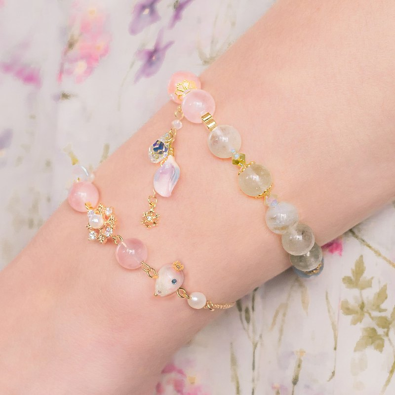Starry Prayer Morganite Bracelet (with detachable petal pendant)