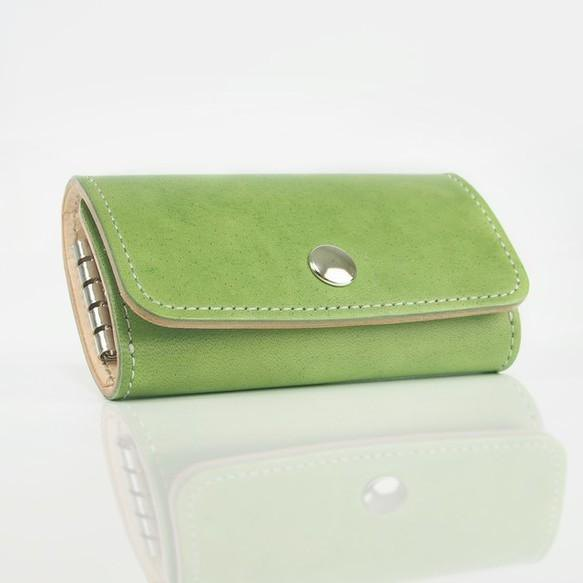 [New color] real leather key case (leaf green)