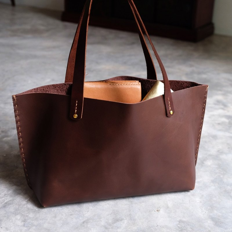 Mini Simple Dark Brown Leather Tote Bag And Small Handmade Lunch Bag