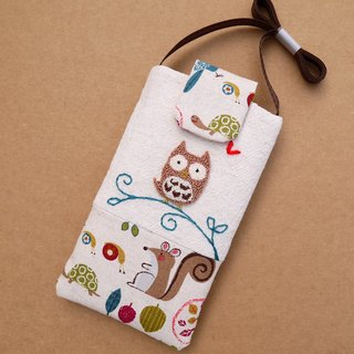 Owl embroidered cell phone pocket (L)
