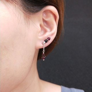 earring. Tourmaline * red garnet clothing ear clip earrings