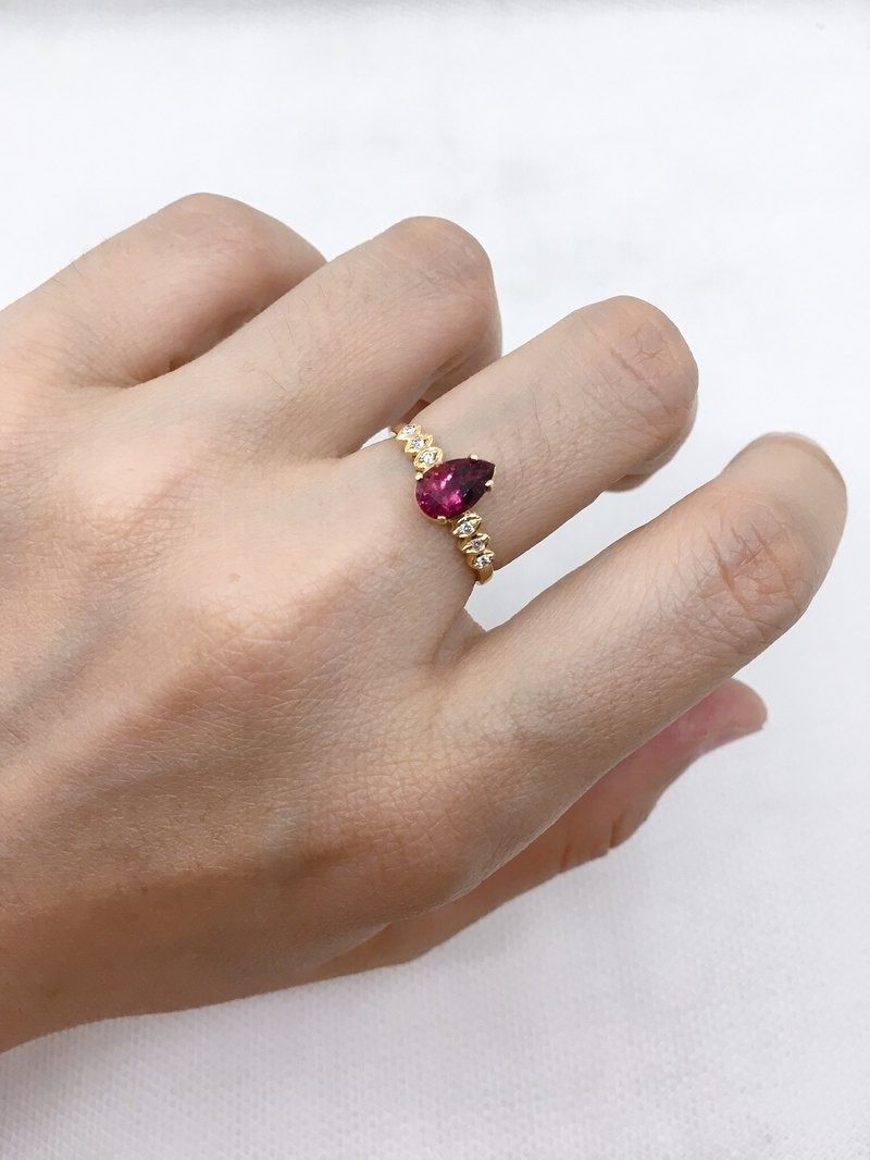 Natural Rupee Red Tourmaline 18k Yellow Gold Diamond Nepal Handmade