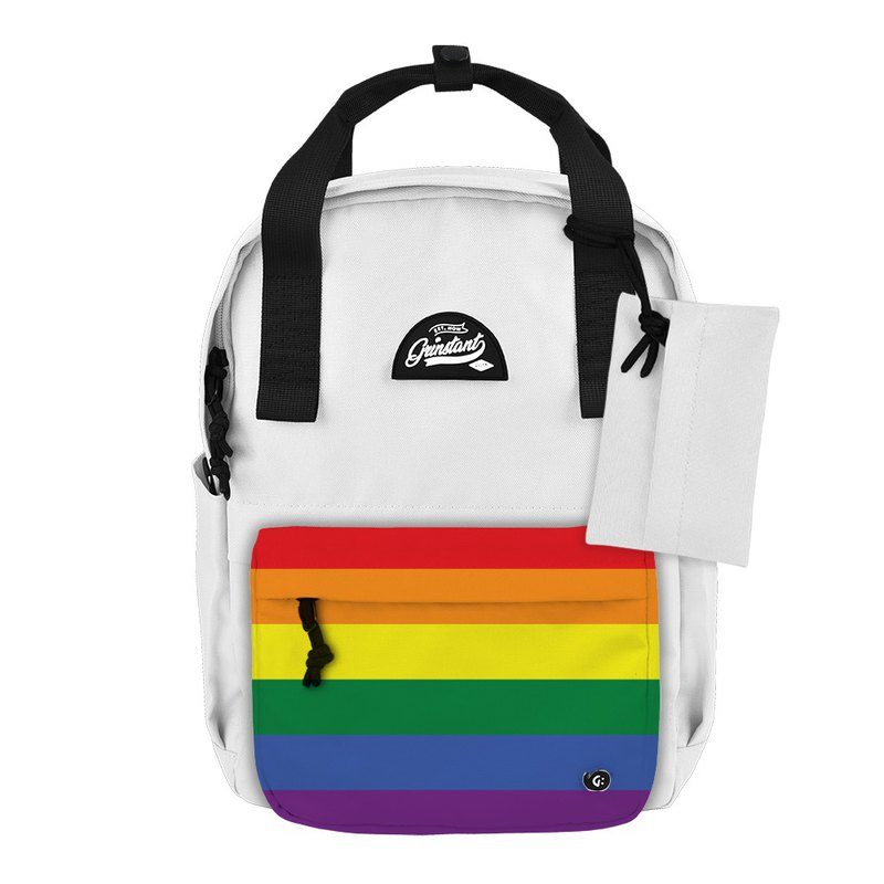 Grinstant mix and match detachable group 13 吋 backpack - LGBT Rainbow Limited Edition (White)