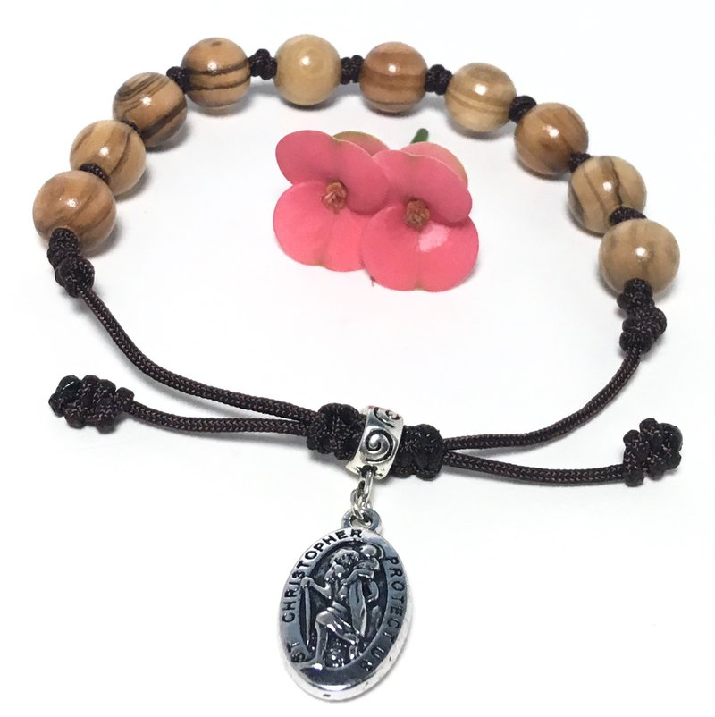 Israel Olive Wood Rosary Bracelet St. Christopher Protects Us 12mm 8251221