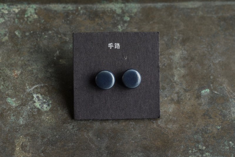 [Hand Road] Small Round Earrings - Indigo