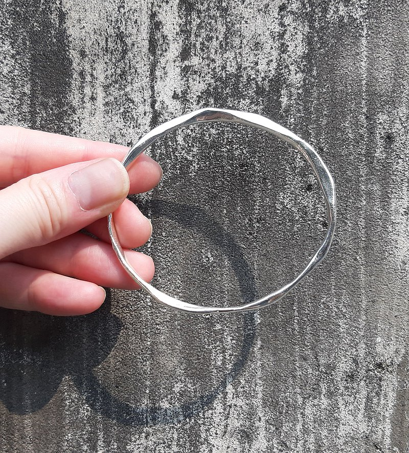 Hammered Texture Bangle - Sterling Silver - Handmade