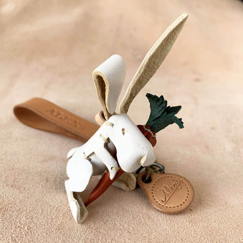 Animal Forest-Little White Rabbit-Leather Vegetable Tanned Leather Key Ring Charm Lanyard Animal Shape