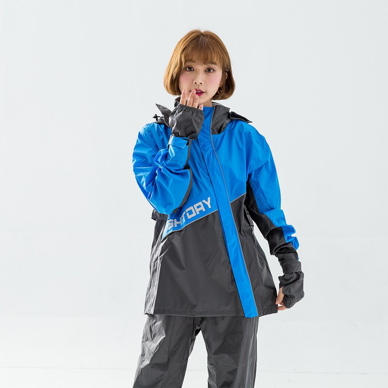 X Warrior diagonally open two-piece raincoat - blue
