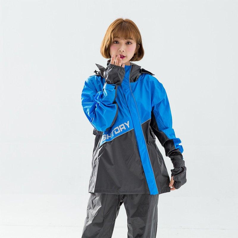 X武士斜開兩件式風雨衣-藍
