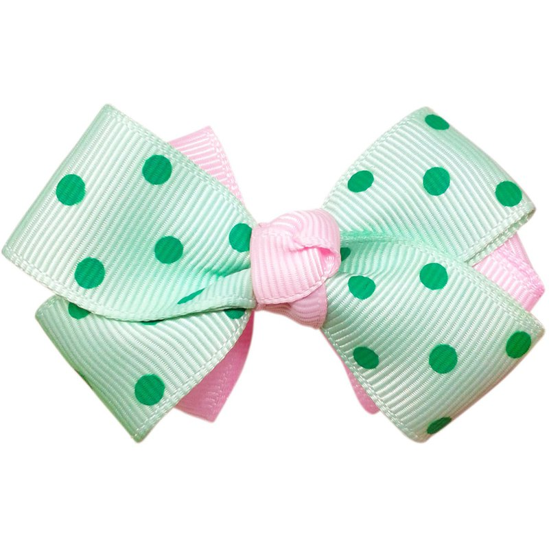 Double-layer two-color water jade little point bow hairpin all-inclusive cloth handmade hair accessories Mint/Pink
